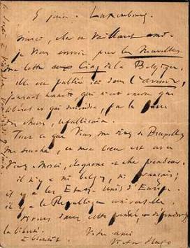 Lettre autographe de VH envoyée de Luxembourg, le 5 juin 1871.